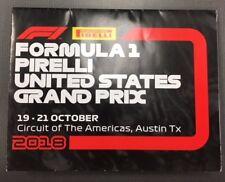 Formula 1 2018, United States Grand Prix Program Pamphlet, Austin, TX, USA