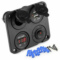 12V Auto Car Cigarette Lighter Socket + Dual USB Port Charger + Voltmeter Panel