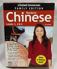 Instant Immersion Family Edition Mandarin Chinese Levels 1, 2 & 3 PC & MAC NIB