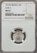 MEXICO ESTADOS UNIDOS 1912 10 CENTAVOS COIN CERTIFIED GEM UNCIRCULATED NGC MS-65