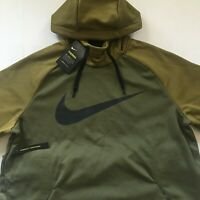 NIKE Therma Swoosh Essential Pull Over Hoodie Olive/Black 931991-395 Size Large