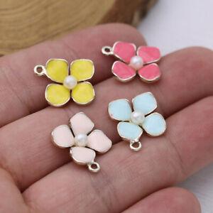 10P Enamel Flower Charm Pendant Jewelry Making Earrings Bracelet DIY Accessories