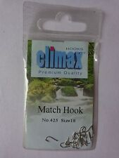 Climax premium quality Match fishing 25 hooks size 18 spade end barbed No 425