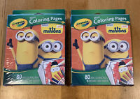 Lot Of 2- Crayola Mini Coloring Pages MINIONS 80 Pages W/ Markers (LP)