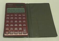 Casio SL-1100TV Calculator 10-Digit BIG LCD Twin Power BORDEAUX RED - TESTED