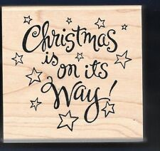 CHRISTMAS is on its WAY STARS Card Words INKADINKADO Lyn Dillin RUBBER STAMP