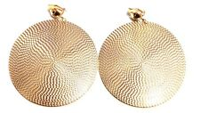CLIP-ON EARRINGS LARGE DISC PLATE CIRCLE HOOPS GOLD OR SILVER TONE 3.5 INCH