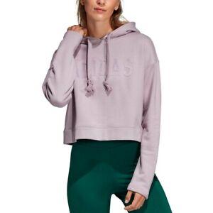 Adidas Womens Purple Stripe Out Cropped Hoodie $65 Sz L TINI {&}