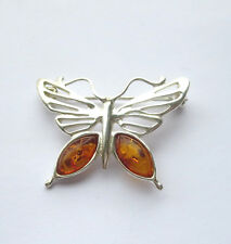 Natural Baltic Amber Butterfly Brooch Sterling Silver 925