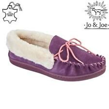 Ladies Leather Slippers Real Suede Faux Sheepskin Fur Womens Loafers Moccasins