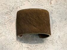Signed Gigi New York Real Leather Cuff Bracelet Uptown Style High End Fashion