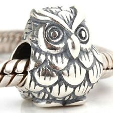Owl Charm Bead 925 Sterling Silver
