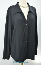 Gianni Women's Button up Shirt long sleeve Blouse tunic top black Size 20 VTG