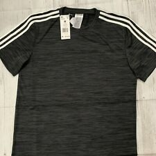 Adidas Climalite Stay Dry 3 Stripes Fireball Tee Gray White Mens Medium Cz9740