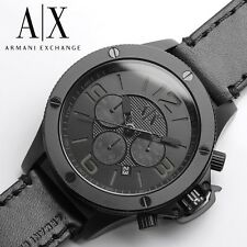 New Armani Exchange AX1508 Street Chronograph Black Dial Black Leather Men Watch