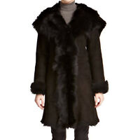 Ladies Black Hooded Style Toscana Shearling Waterfall Design Warm Winter Coat