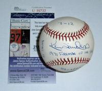 BREWERS Ken Sanders signed STAT baseball JSA COA AUTO Autographed 1971 Fireman