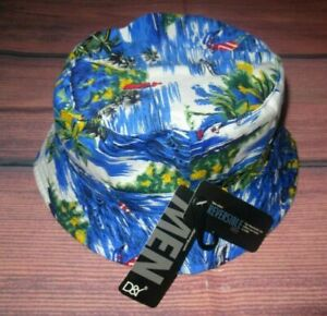 MENS D&Y DAVID & YOUNG HAWAIIAN REVERSIBLE BUCKET HAT ONE SIZE