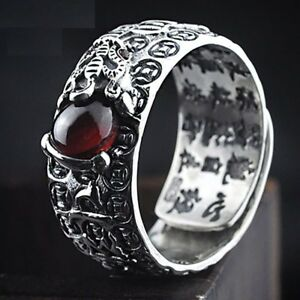 Unisex Natural Red Garnet Stone Ring Sterling Silver Best Christmas Gift Jewelry