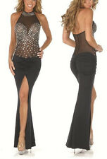 Womens Black Lace Night Club Party Exotic Dance Wear Long Evening Dress Summer