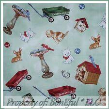 BonEful Fabric FQ Cotton Green VTG Dog Cat Bird Bath Doll House Little Red Wagon