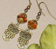 "Owl with Sunset Gold AB Crystal Bronze Plated Earrings 2.3"" Long"