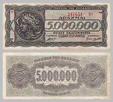 Grecia/Greece 5 millones drachmai 1944 p128b xf-au