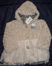 Stunning Cream Faux Fur Swirl Hooded Occasions Coat Lined Age 4-5 Years BNWT