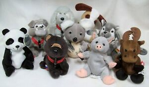 1999 Coca Cola Int'l Ty Beanie Babies Dogs Bears Wolf Pig Moose NWT Lot of 9