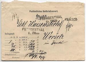 Germany 1890 Freudenthal money letter to Wersetz Banat c.29