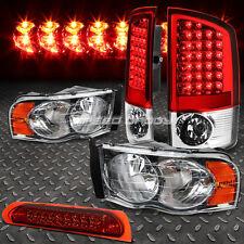 CHROME HEADLIGHT+AMBER CORNER+RED LED TAIL LIGHT+3RD BRAKE FOR 02-05 DODGE RAM