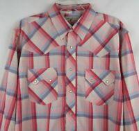 Mens LARGE Wrangler Shirt l/s Pearl Snap Rodeo Plaid Check Western Cowboy