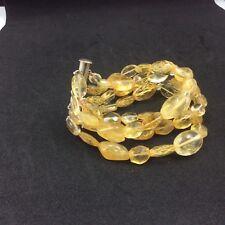M & J Savitt  4 strand citrine bracelet with slide clasp