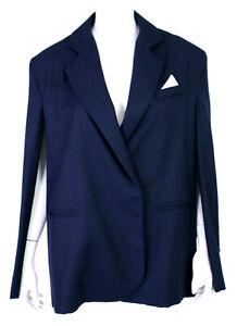 JACQUEMUS Midnight Blue Woven Wool Button-Front Blazer Cape Jacket 38