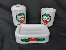 Vintage WALT DISNEY Mickey Mouse Christmas Toothbrush Holder Soap & Cup Set