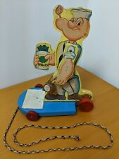 Popeye Surf Board Action Pull Toy Bell Spinach Wood Vintage Complete