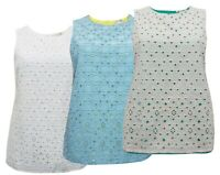 Ex Boden Size 6-22 Cotton Lined Eyelet Broderie Anglaise Shirt Vest Top Tunic