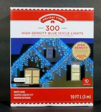 Holiday Time 300 High Density Blue Icicle Lights White Wire 9 FT Lighted Length