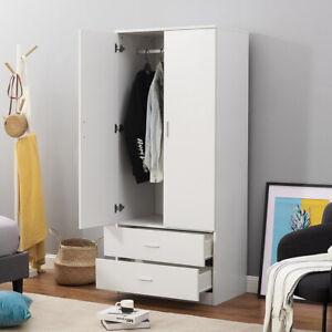 White Wardrobe 2 Door 2 Drawer with Hanging Rail Storage Bedroom Furniture Unit