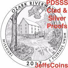 2017 PDSSS Ozark Scenic River Ways Park Quarters US Mint Clad & 90% Silver Proof