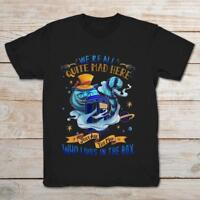 Cheshire Cat Tardis We're All Quite Mad Here Funny Black T-Shirt S-3XL