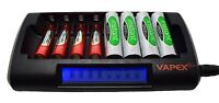 Fast Smart Battery Charger for 1 - 8 AA or AAA NiMH batteries LCD Vapextech
