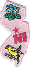 """NJ"" NEW JERSEY STATE SHAPE - Iron On Embroidered Applique Patch/Northeast"
