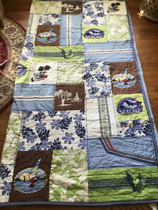 "Pottery Barn Patchwork Kayak,Wind Surf Seacave Full/Queen Quilt Blanket 85"" x87"""