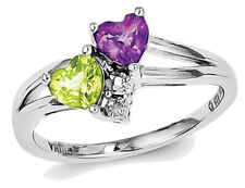 Sterling Silver 0.95 Carat (ctw) Amethyst and Peridot Heart Ring
