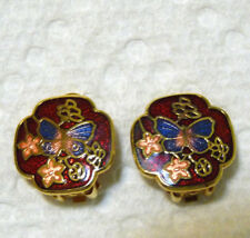 Nice Gold Tone Red Enamel with Butterfly Design Clip-On Earrings  G107