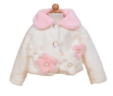 New Girls Ivory and Pink Faux Fur Long Sleeves Coat Bolero 2-3 Years