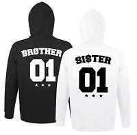 Brother Sister Bruder Schwester Hoodie Pullover im SET BFF m. Wunschzahl BRO SIS