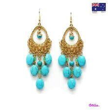 18K Gold Plated Turquoise Gemstones Drop/Dangle Earrings