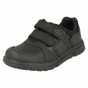 Clakrks Blake Rue Garçons Cuir Noir Rip Ruban Chaussure H Fit (R41A)